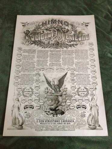 Litografía del Himno Nacional Mexicano