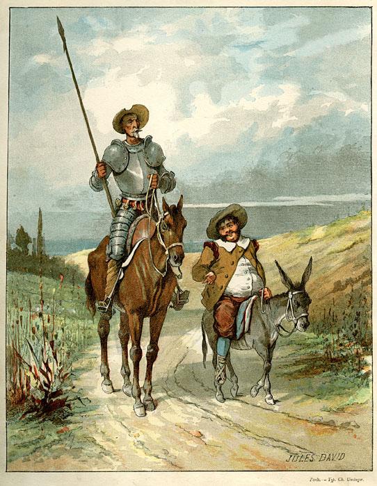 El Quijote y Sancho Panza.