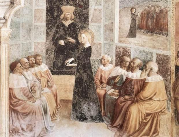 Hipatia dando clase, por Masolino da Panicale