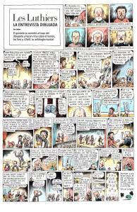 """""""La entrevista dibujada"""" de Liniers es un ejemplo perfecto (y en cómic) de lo que era Les Luthiers,"""